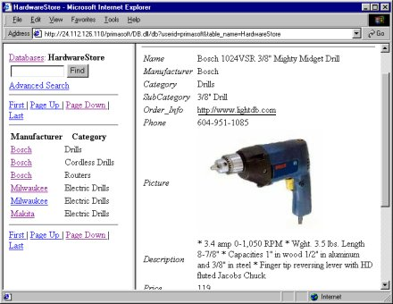 PrimaSoft Web dB Server - Web database organizer.